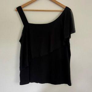Adele & May Black Y2K Asymmetrical Blouse Top XL